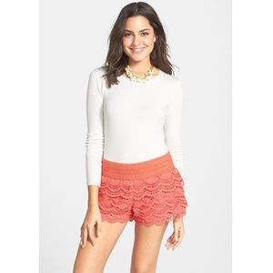 Jolt Coral Lace Tiered Shorts
